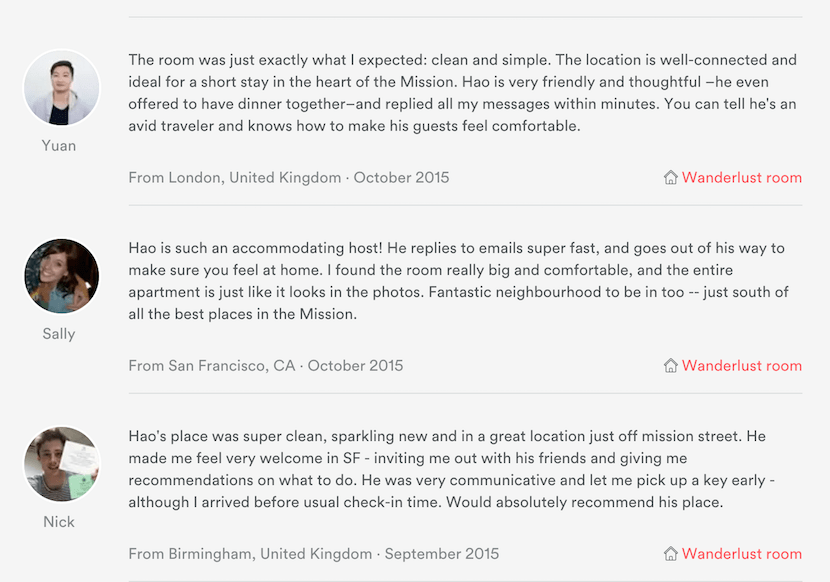 airbnb host reviews of guests
