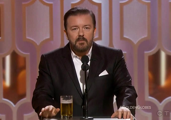 ricky gervais golden globes review