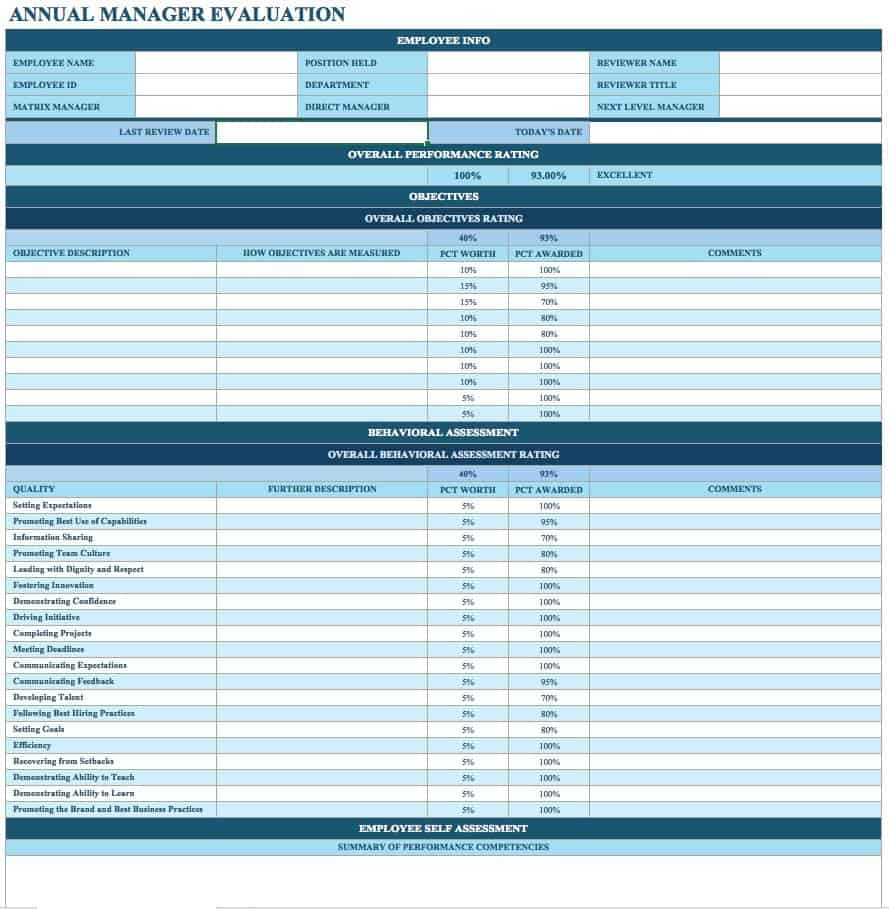 sample employee performance review template