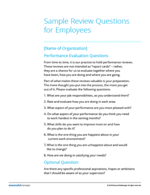 annual review questions for employers
