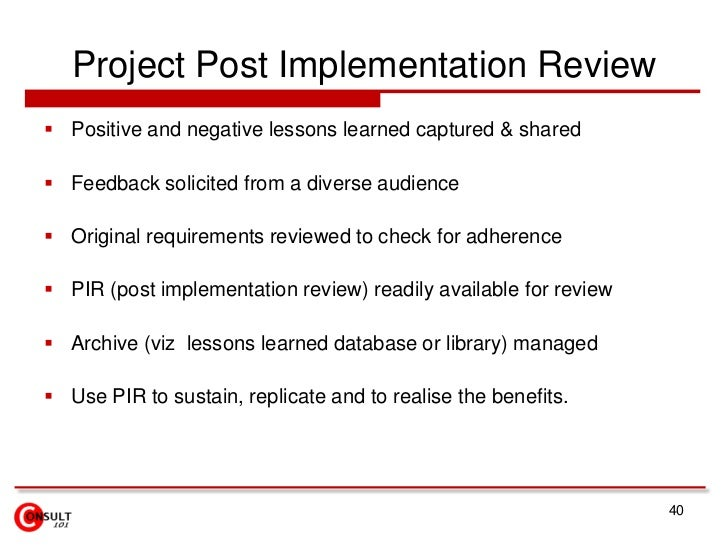 purpose of post implementation review
