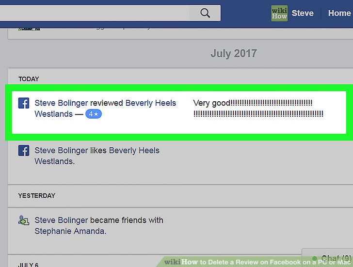 how to delete a facebook review