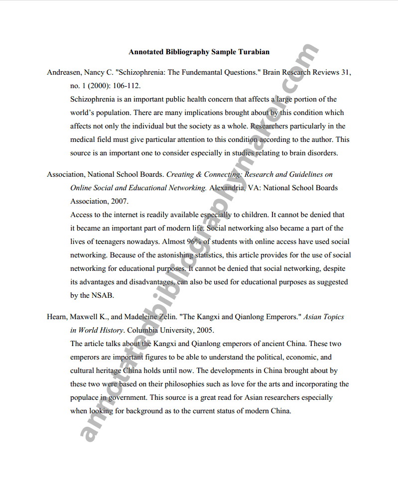 annotated bibliography literature review example