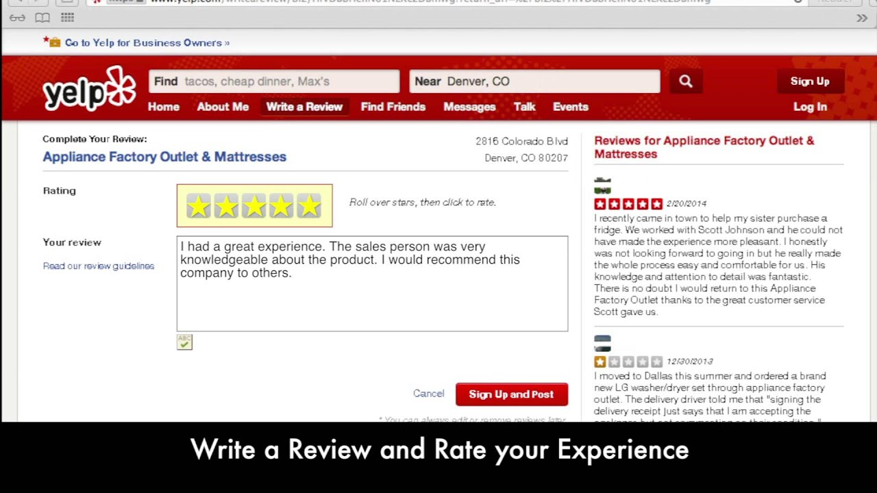 how to post a review on yelp