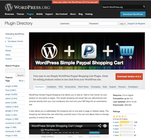 wordpress simple paypal shopping cart review